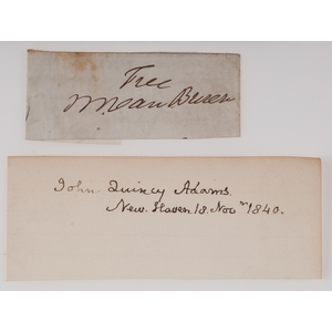 John Quincy Adams & Martin Van Buren Clipped Signatures