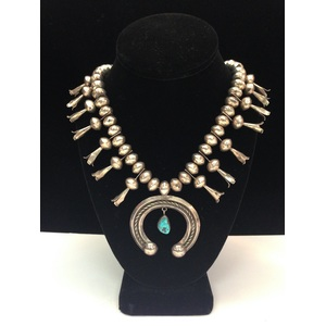 Navajo Silver and Turquoise Squash Blossom Necklace, From the Estate of Lorraine Abell (New Jersey, 1929-2015)