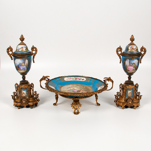Sevres Center Bowl with Urns, Lot of Three