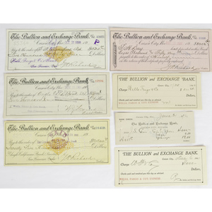 Collection of Western Documents, Incl. Bullion & Exchange Bank Checks, Memoranda of Bullion Deposited for Assay, Express Documents, and More