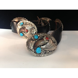 Navajo Silver and Turquoise Concha Belt with Claws
