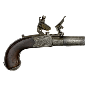 British Boxlock Flintlock Pistol by W. Jover Inscribed to British Naval Hero, Admiral Lord Nelson, 1794