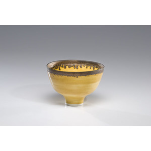 Lucie Rie, Yellow Bowl with Bronze Rim
