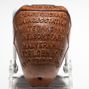 Folk Art Carved Burlwood Pipe Identified to Civil War POW W.M. Curtis, 19th Massachusetts Volunteers