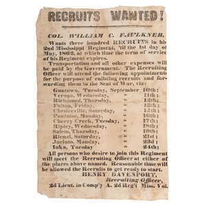 Confederate Recruitment Broadside for Colonel William C. Faulkner's 2nd Mississippi Regiment