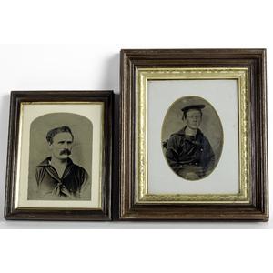 Two Framed Full Plate Tintypes of Sailors