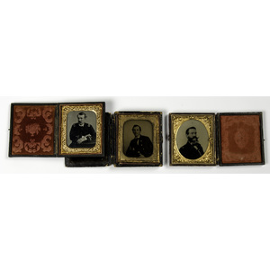 Civil War Sixth Plate Ambrotypes & Tintype of Naval Officers, Lot of Three
