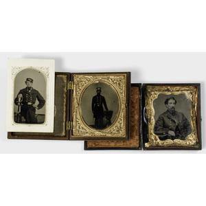 Civil War Tintypes of Naval Officers, Lot of Three