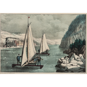 Ice-Boat Race on the Hudson, Hand-Colored Lithograph by Currier and Ives