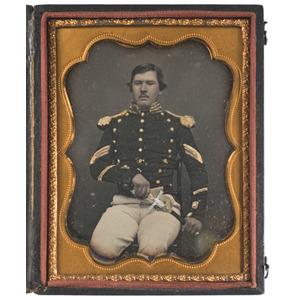 Quarter  Plate Daguerreotype of an Unidentified Militia Sergeant
