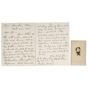 General G.W. Custis Lee CDV, Plus ALS Regarding R.E. Lee and M. Miley, Photographer