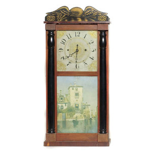 Luman Watson Shelf Clock with Eagle Stencil,
