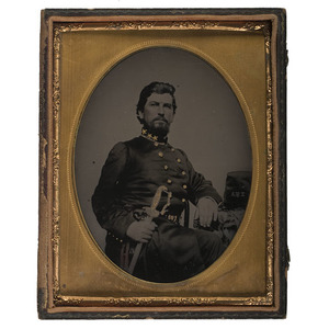 Fine Half Plate Tintype of High-Ranking Confederate Officer