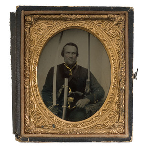 Civil War Sixth Plate Tintype of a Triple Armed Cavalryman