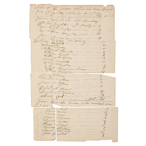 Revolutionary War Document Listing Survivors of the Cherry Valley Massacre, Nov. 11, 1778