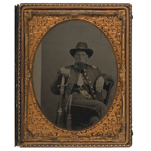 Half Plate Tintype of Federal Officer Presenting Sword