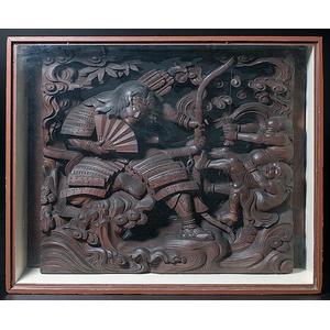 Large Japanese Relief Carved Samurai Scene